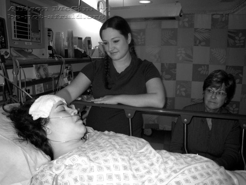 Family in recovery room at hospital