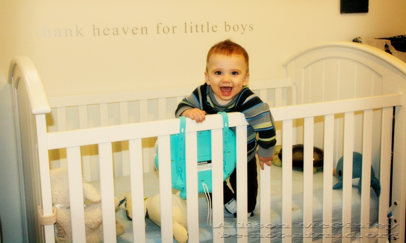 Baby Standing in Crib